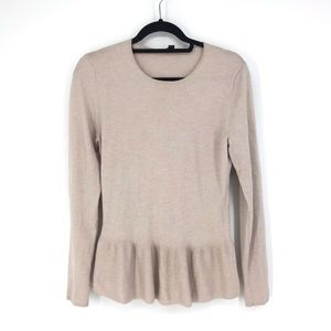 Ann Taylor Sz M Peplum Hem Sweater Blush Pink